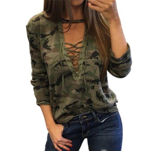 """Blusa Camuflada com Decote Em """"V"""" - Várias Cores"""