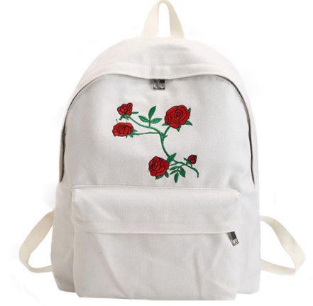 Mochila de Lona Sweet Roses - Preta & Branca