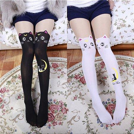 Meia 5/8 Luna de Sailor Moon - Branca & Preta