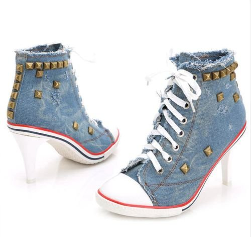 Tênis salto alto rivet jeans várias cores mobway store tenis all star de  salto jpg 500x471 d530fa8982222