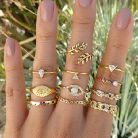 Conjunto de Anéis Dourados MYWAY