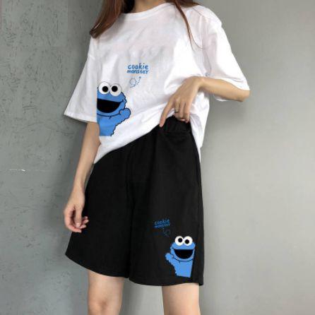 Conjunto Camiseta & Bermuda COOKIE MONSTER - Duas Cores