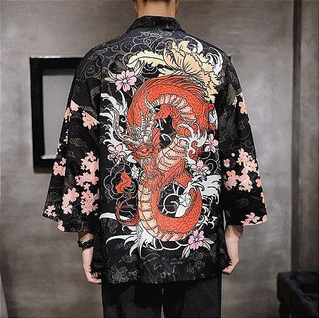Kimono NUVENS E DRAGÕES - Duas Estampas
