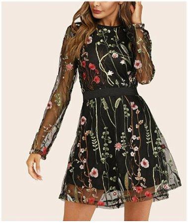 Vestido de Manga Longa RAMOS DE FLORES
