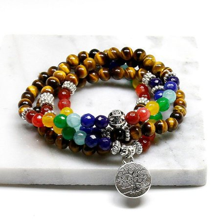 Japamala Pulseira com Pedras Olho de Tigre e com pedras dos 7 Chakras (6mm) 108 contas