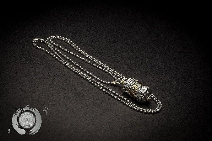 Cordão Amuleto Roda das Orações Corrente Metal
