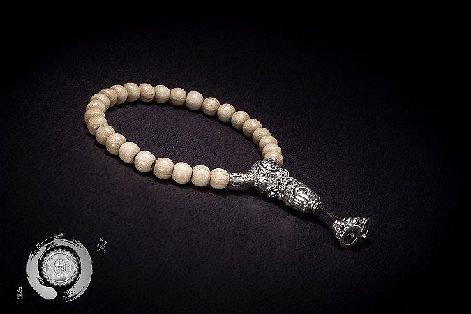 Japamala Pulseira Bracelete 27 Contas Madeira Lótus & Buda