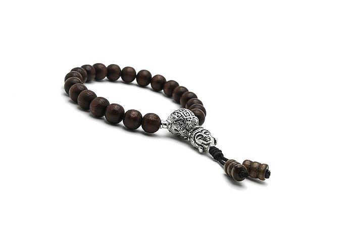 Japamala Pulseira Bracelete Budista Madeira Brown Lótus