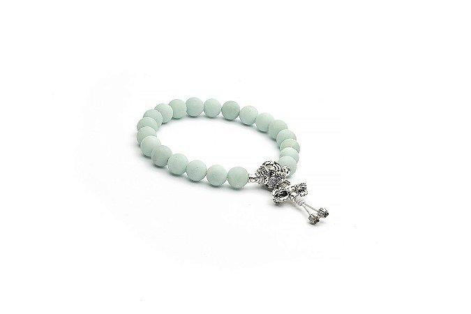 Japamala Pulseira Bracelete Amazonita Símbolos Auspiciosos