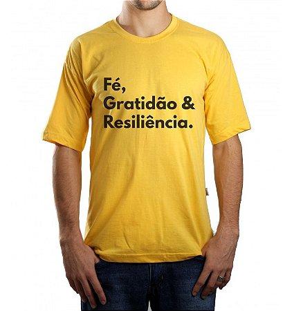 Camiseta Masculina Fe, Gratidão e Resiliência - Amarela