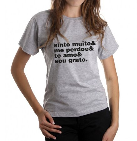 Camiseta Feminina Ho'Oponopono - Cinza