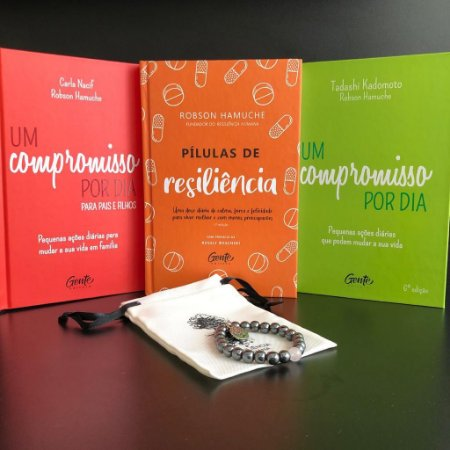 Kit Compromisso Resiliente 2021 - 3 Livros + 1 Pulseira de Hematita com Quartzo Rosa e Frete Grátis