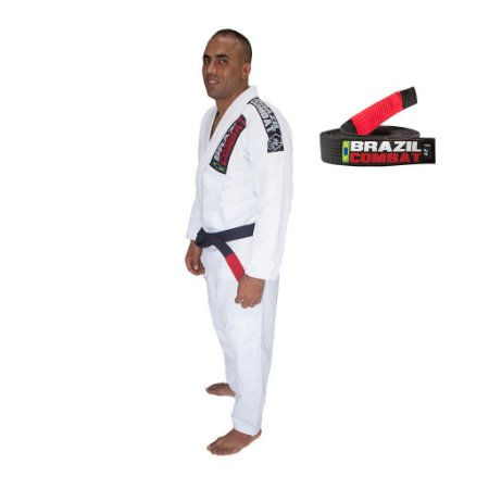 Kimono Jiu-JItsu Xtra-Lite Branco com Faixa Preta Brazil Combat