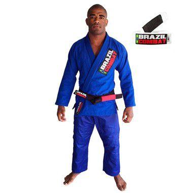 Kimono Jiu-JItsu Starter Azul com Faixa Branca Brazil Combat