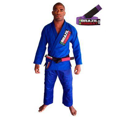 Kimono Jiu-JItsu Starter Azul com Faixa Roxa Brazil Combat