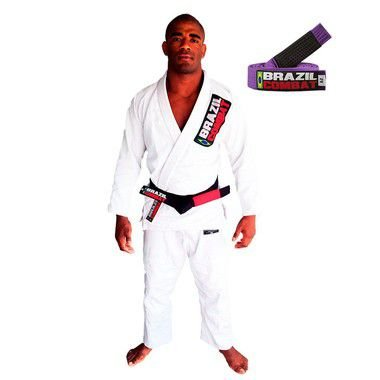 Kimono Jiu-JItsu Starter Branco com Faixa Roxa Brazil Combat