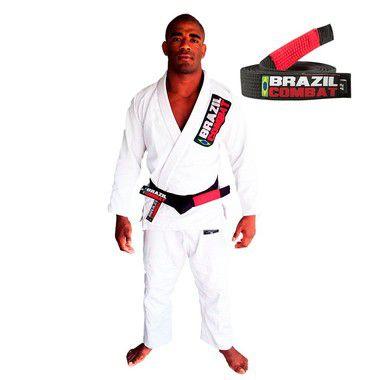 Kimono Jiu-JItsu Starter Branco com Faixa Preta Brazil Combat