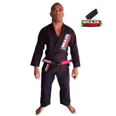 Kimono Jiu-JItsu Starter Preto com Faixa Branca Brazil Combat