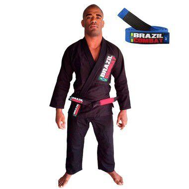 Kimono Jiu-JItsu Starter Preto com Faixa Azul Brazil Combat