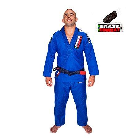 Kimono Jiu-Jitsu Xtra-Lite Azul com Faixa Branca Brazil Combat
