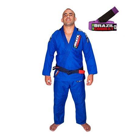 Kimono Jiu-Jitsu Xtra-Lite Azul com Faixa Roxa Brazil Combat