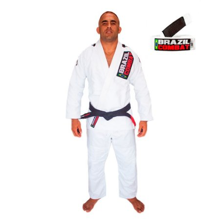 Kimono Jiu-JItsu Xtra-Lite Branco com Faixa Branca Brazil Combat