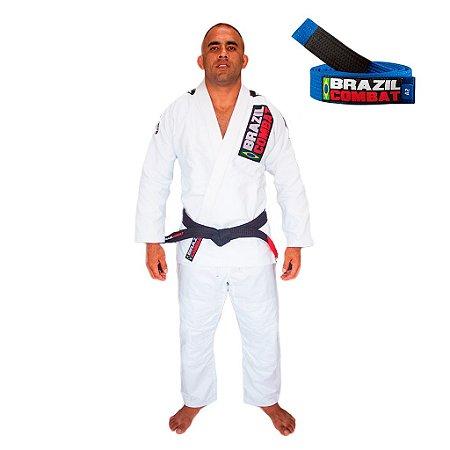 Kimono Jiu-JItsu Xtra-Lite Branco com Faixa Azul Brazil Combat