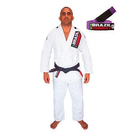 Kimono Jiu-JItsu Xtra-Lite Branco com Faixa Roxa Brazil Combat