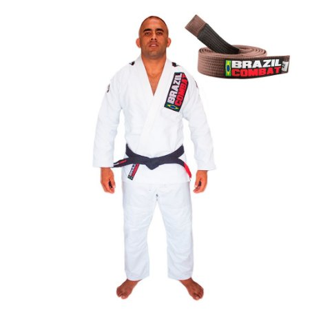 Kimono Jiu-JItsu Xtra-Lite Branco com Faixa Marrom Brazil Combat