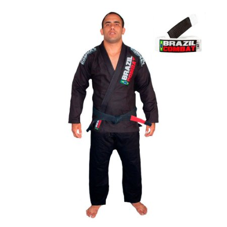 Kimono Jiu-JItsu Xtra-Lite Preto com Faixa Branca Brazil Combat