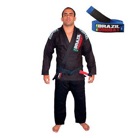 Kimono Jiu-JItsu Xtra-Lite Preto com Faixa Azul Brazil Combat