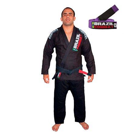 Kimono Jiu-Jitsu Xtra-Lite Preto com Faixa Roxa Brazil Combat