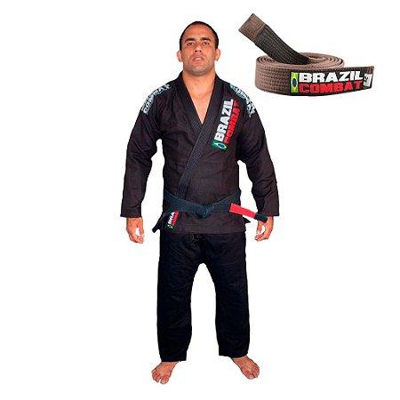Kimono Jiu-JItsu Xtra-Lite Preto com Faixa Marrom Brazil Combat