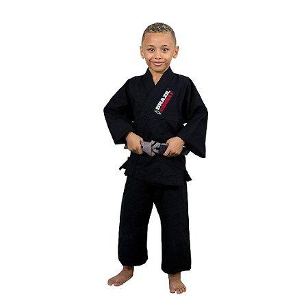 Kimono Jiu-Jitsu Infantil Reforçado Preto Brazil Combat