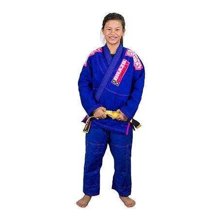 Kimono Jiu-Jitsu Feminino Infantil Xtra-Lite Azul com Rosa Brazil Combat