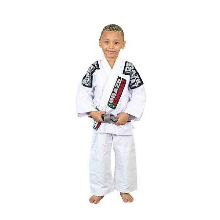 Kimono Jiu-JItsu Infantil Xtra-Lite Branco Brazil Combat