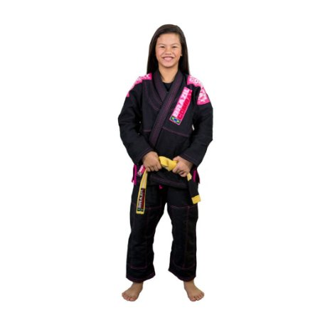 Kimono Jiu-JItsu Feminino Infantil Xtra-Lite Preto com Rosa Brazil Combat