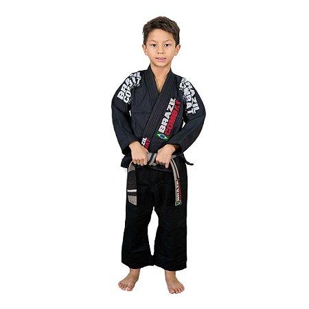 Kimono Jiu-JItsu Infantil Xtra-Lite Preto Brazil Combat