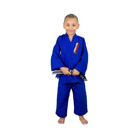Kimono Jiu-Jitsu Infantil Reforçado Azul Brazil Combat