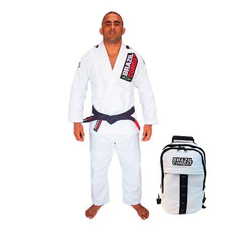 Kimono JiuJitsu XtraLite Branco Mais Mochila Kimono Branca Brazil Combat
