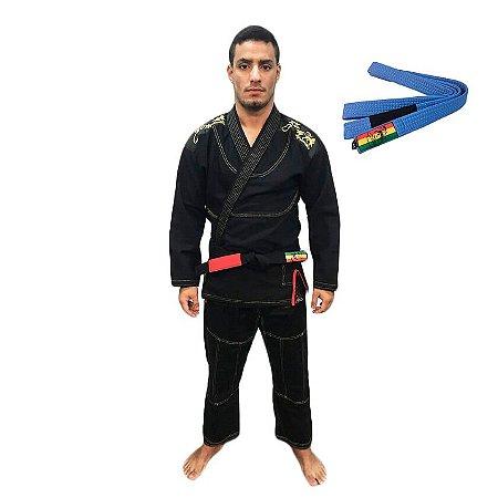Kimono Jiu-JItsu ZComp Preto com Faixa Azul Zion