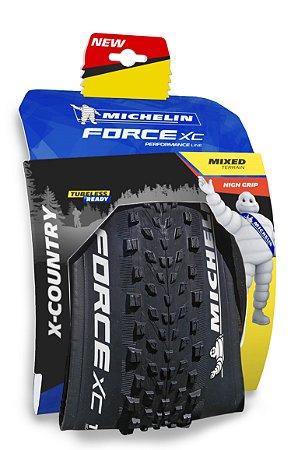 """Pneu Michelin 29"""" X 2.25 Force XC Performance 3 X 60TPI TR Kevlar"""