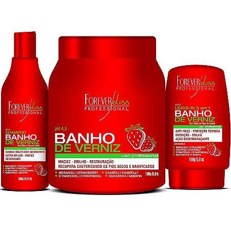 Kit Banho de Verniz Morango Profissional Brilho Extremo Forever Liss