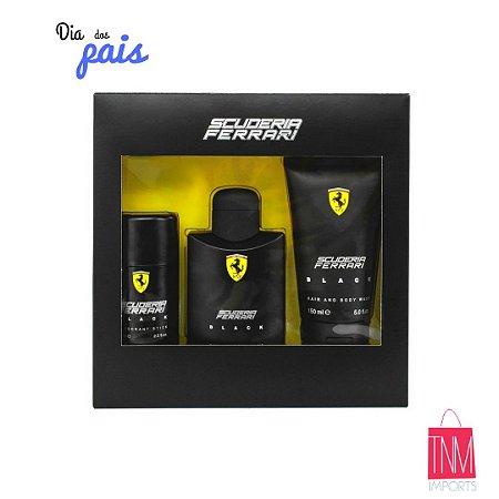 Kit Ferrari Black (Perfume 125ml + Desodorante + Shampoo corporal e cabelos)