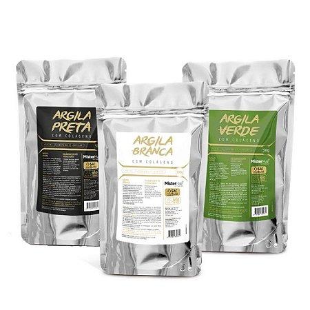 Kit Argila preta + Argila branca + Argila verde - Mister Hair - 500g