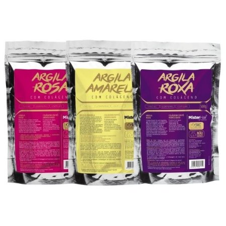 KIT Argila Rosa + Argila Amarela + Argila Roxa 500g - Mister Hair