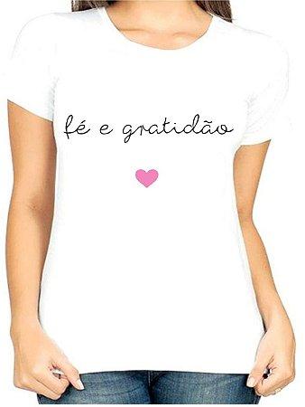 T-Shirt Atacado FÉ E GRATIDÃO - Adulta - Várias cores de tecido