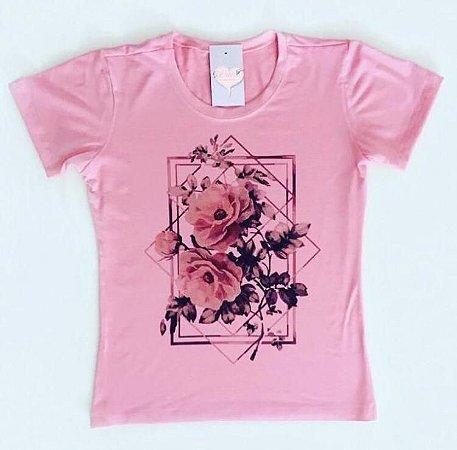 T-Shirt Atacado FLOWERS PINK - Adulto - Várias cores de tecido