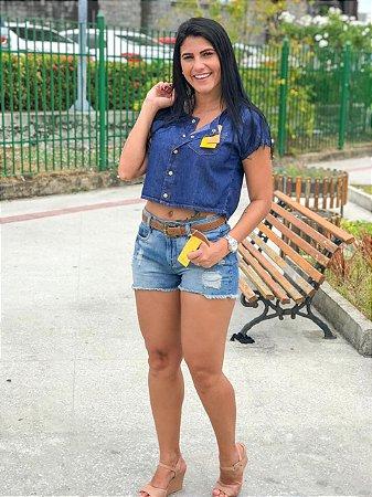 Blusinha Jeans Lud - P, M e G - Pronta Entrega
