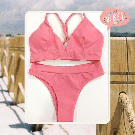 Bikini Positive Vibes - Salmon - P, M e G